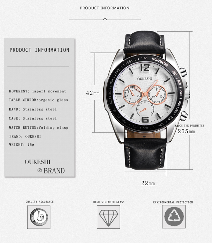 OUKESHI Tachymeter Faux Leather Quartz Watch