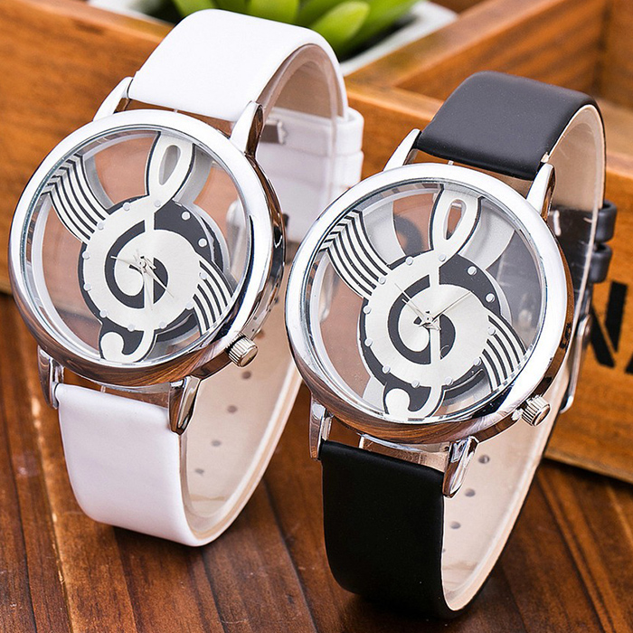 Faux Leather Strap Music Notation Watch