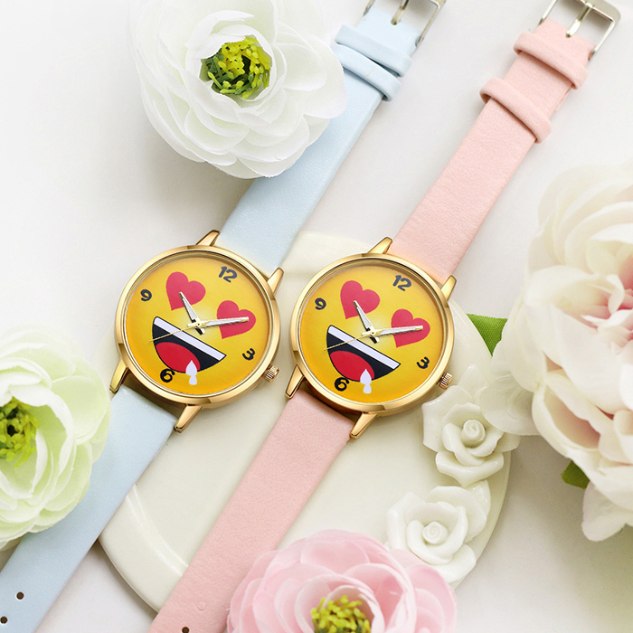 Cartoon Emoticon Face Analog Quartz Watch
