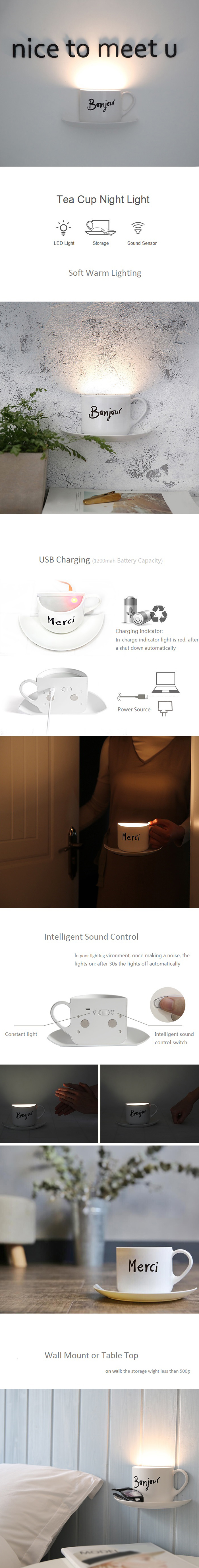 USB Charge Sound Sensor Tea Cup LED Night Light