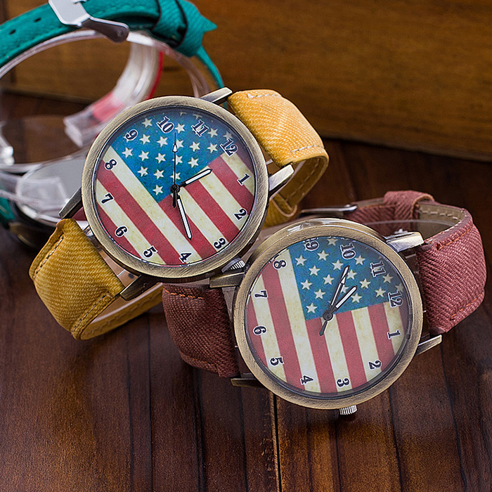Stars & Stripes Flag Jeans Quartz Watch