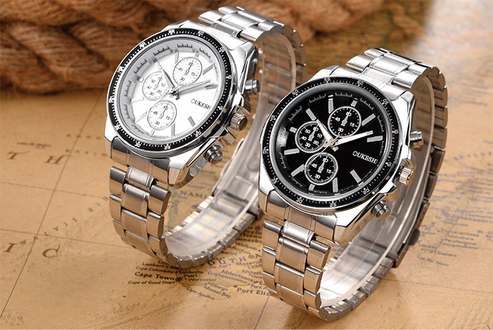 Steel Strap Number Quartz Watch