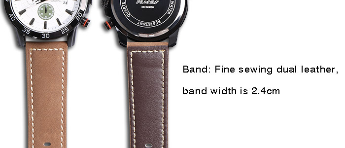 Faux Leather Strap Number Date Montre bracelet