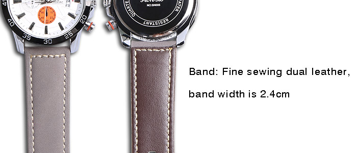Faux Leather Strap Number Date Watch