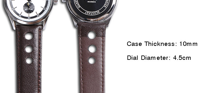 Analog Faux Leather Strap Watch
