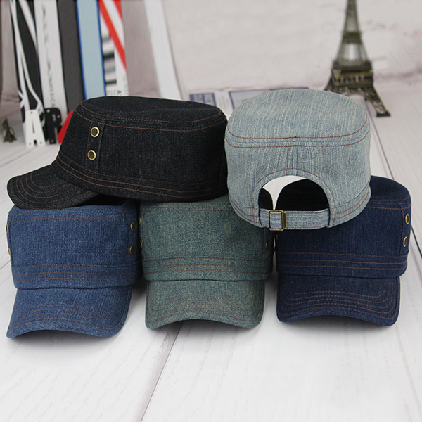 Denim Outdoor Sunscreen Flat Top Hat
