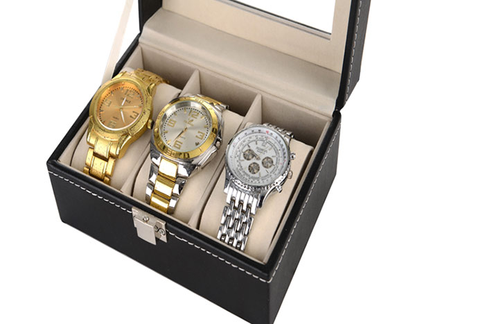 3 Grids Collection Classic Leather Watch Case Plastique Top Display Box