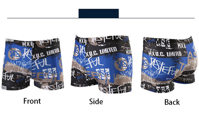 Letter Graffiti Printed Lace Up Swimming Trunks
