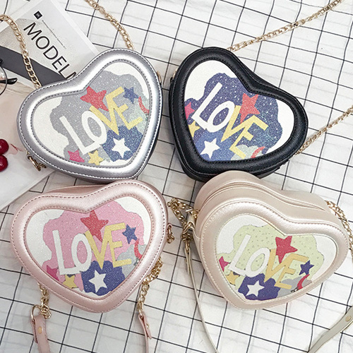 Love Print Heart Shaped Crossbody Bag