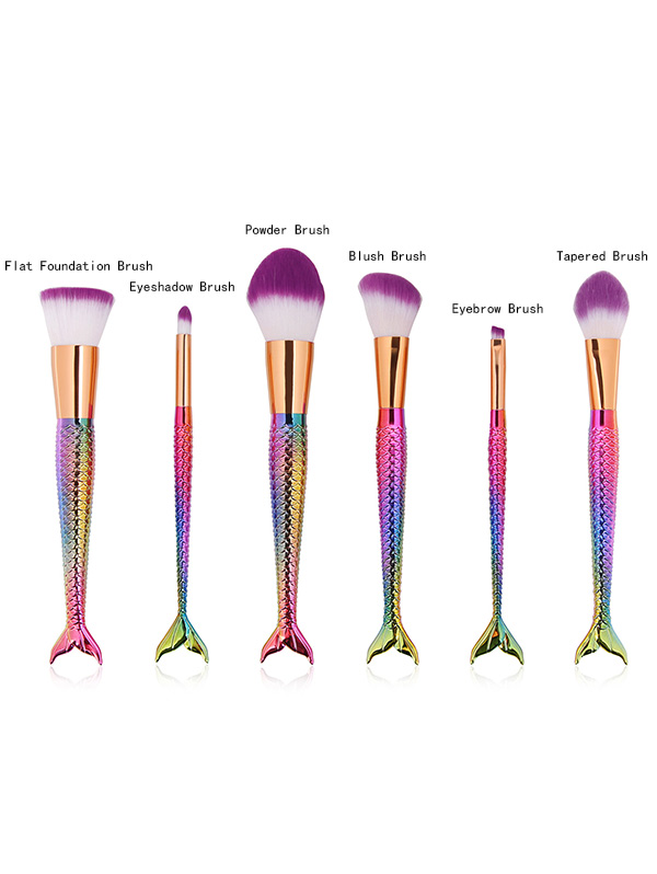 6 Pcs Mermaid Shape Multifunction Makeup Brush Set