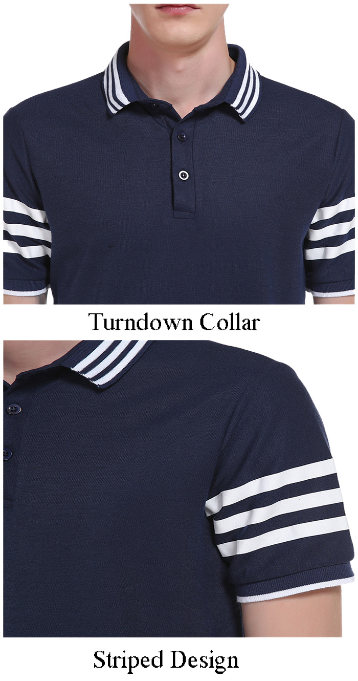 Turndown Collar Striped Design Polo T-Shirt
