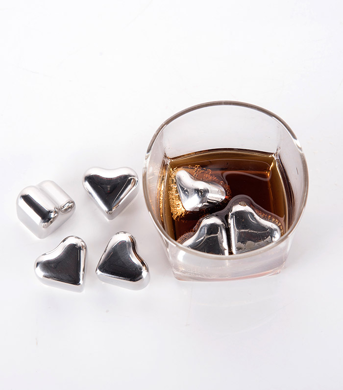 4 Pcs Wine Cooling Stone Heart Shaped Stainless Steel Ice Cubes