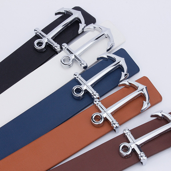 Anchor Shape Plate Buckle Faux Leather Belt