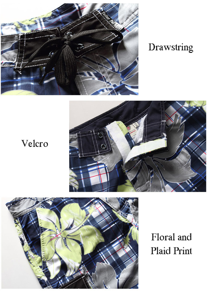 Drawstring Floral and Plaid Print Side Pocket Board Shorts