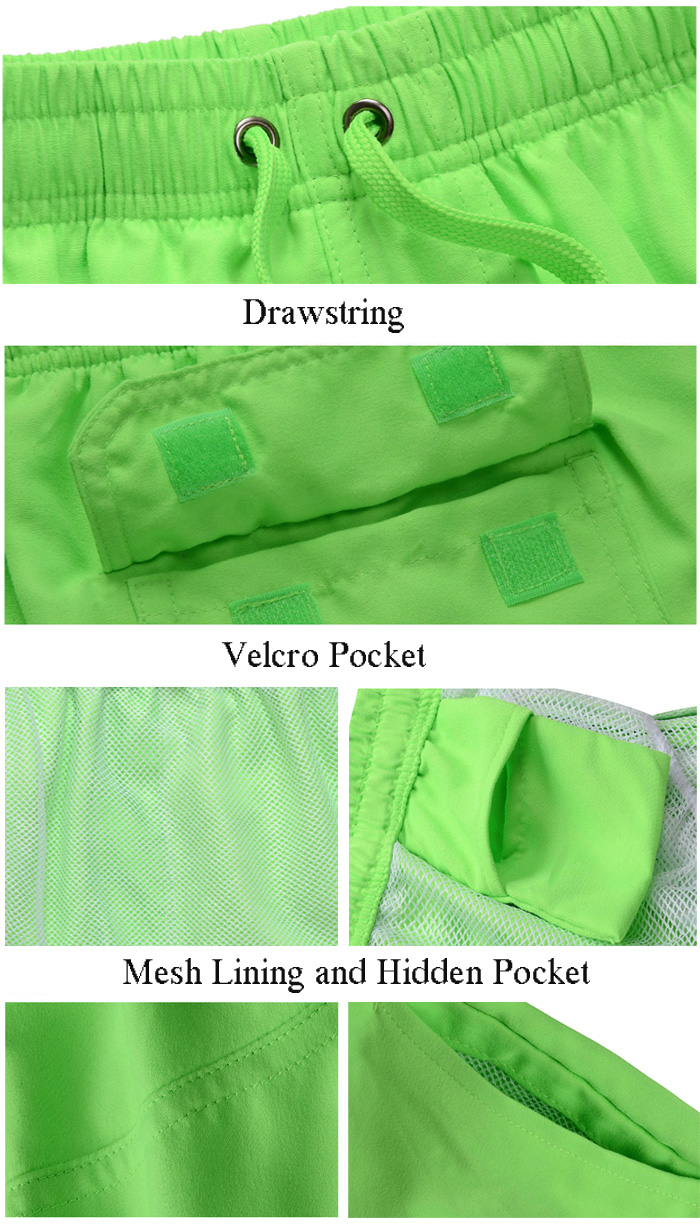Drawstring Mesh Lining Hidden Pocket Board Shorts