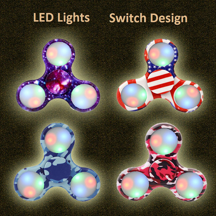 Patterned Fidget Spinner with Colorful Flashing LED Lights