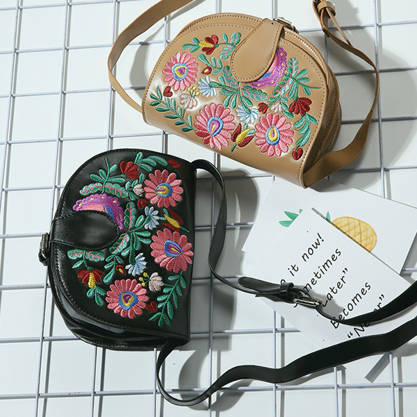 Flower Embroidered Saddle Bag