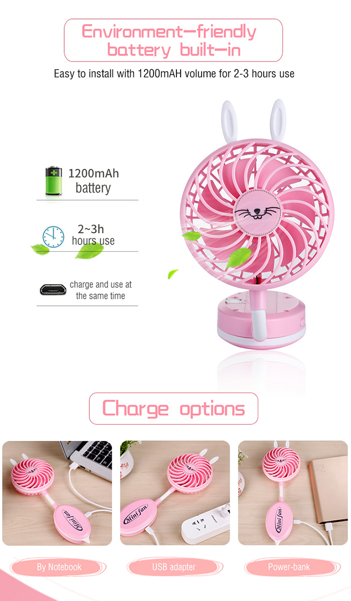 Cute Ear Design Strong Wind Mute USB Folding Handheld Fan