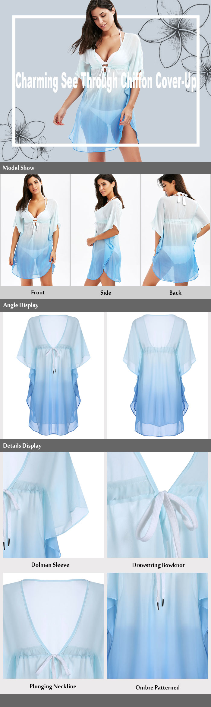 Chiffon Drawstring Ombre Tunic Cover-Up