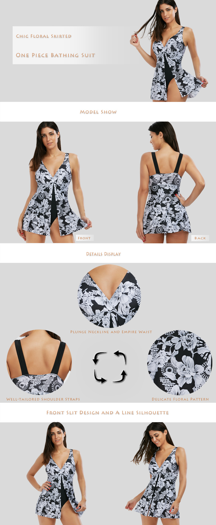 Floral Skirted One Piece Swimsuit