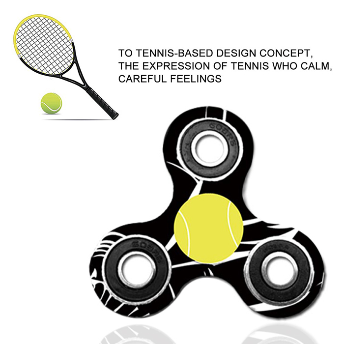 Fiddle Toy Tri-bar Tennis en plastique à motifs Fidget Spinner