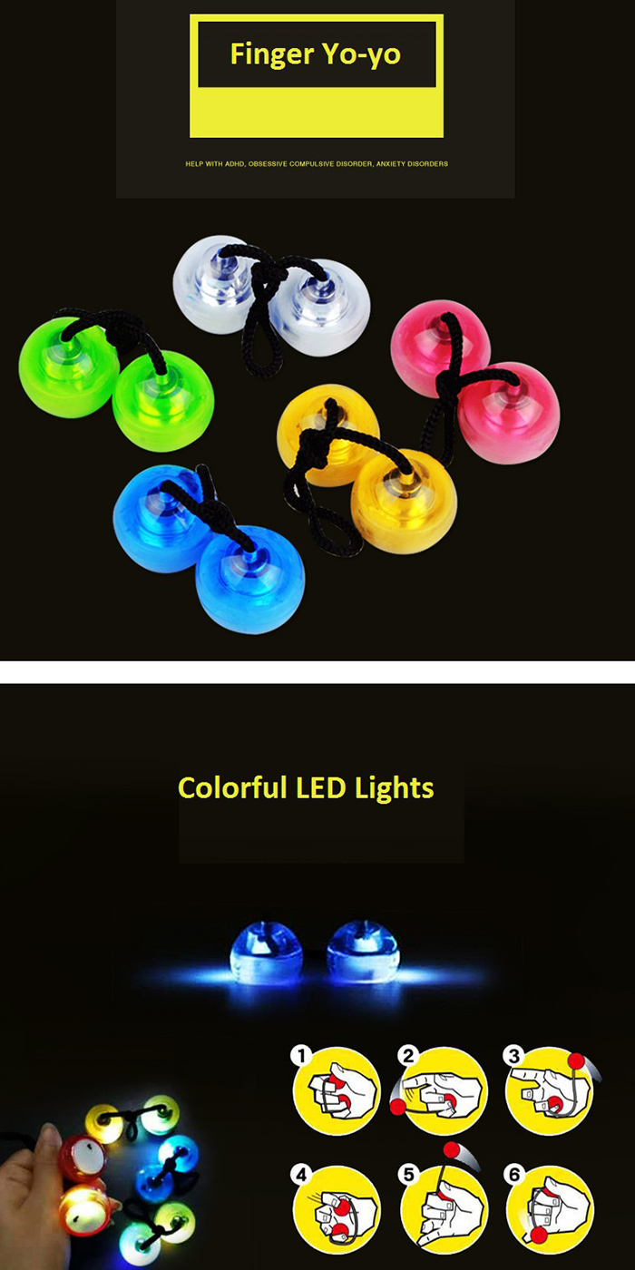 Yoyo dedo Fidget con el cambio de color de luces LED