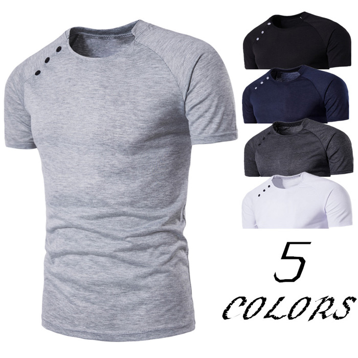 Button Design Stand Collar Raglan Sleeve T-shirt