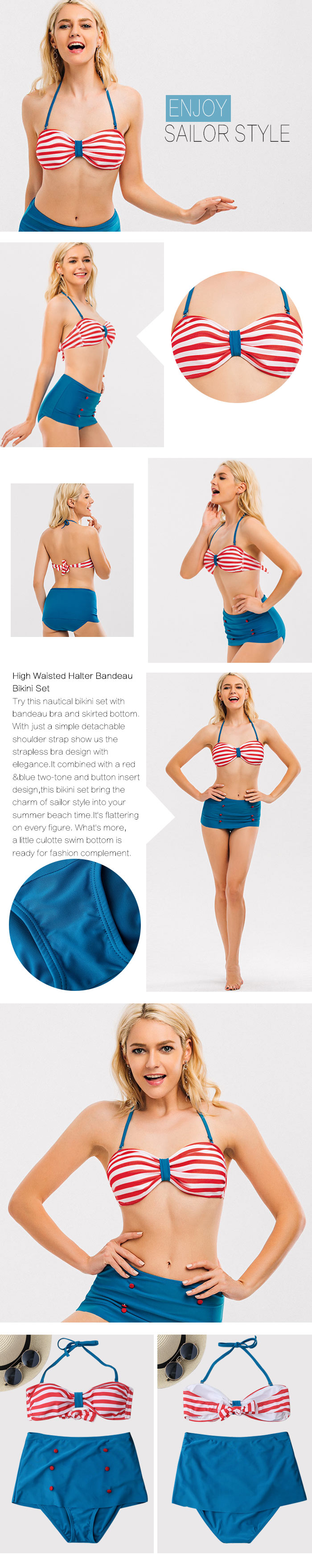 High Waisted Striped Halter Bandeau Bikini Set