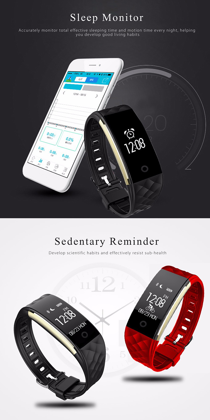 S2 Bluetooth Smart Bracelet Watch with GPS Sport Tracker Heart Rate Monitor