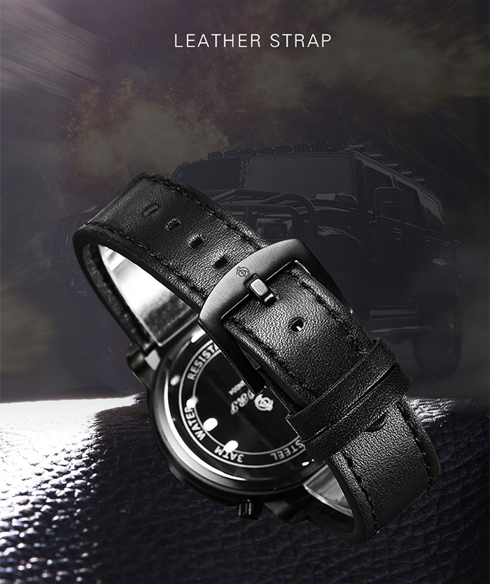 Faux Leather Strap Dual Quartz Wrist Watch