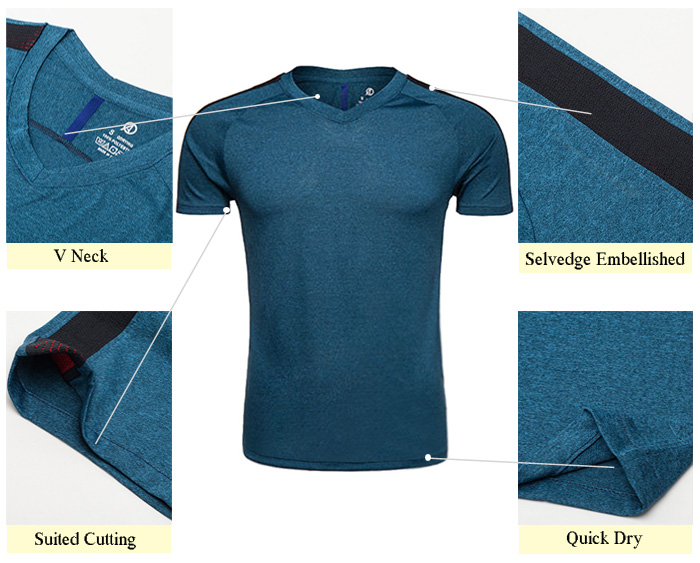 V Neck Quick Dry Mesh Panel Raglan Sleeve Training T-shirt