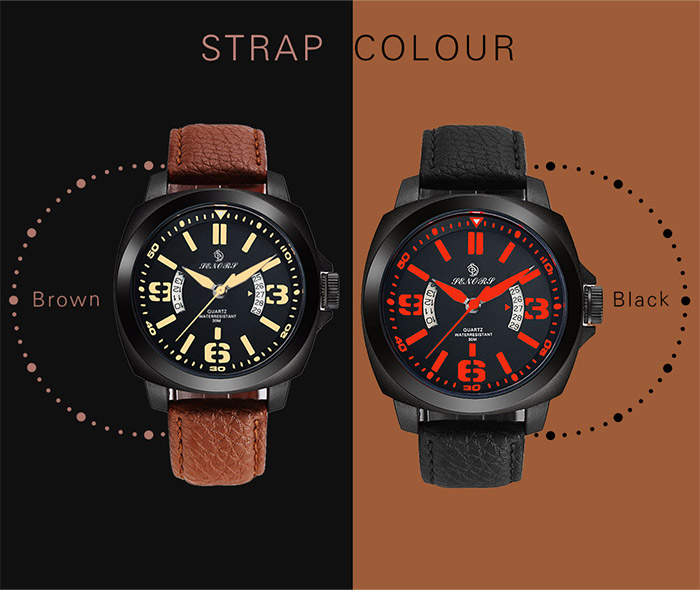 Faux Leather Strap Calendar Double littéral quartz Watch