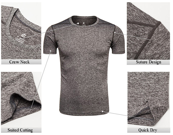 Crew Neck Suture Design Quick Dry Training T-shirt