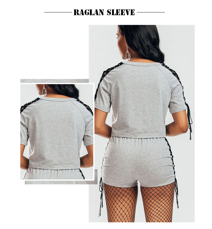 Raglan Sleeve Lace Up Camiseta y pantalones cortos