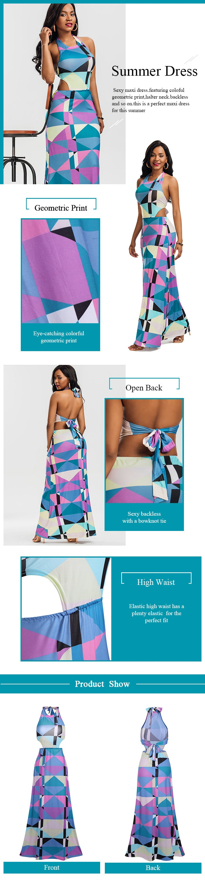 Halter Geometric Print Backless Maxi Dress