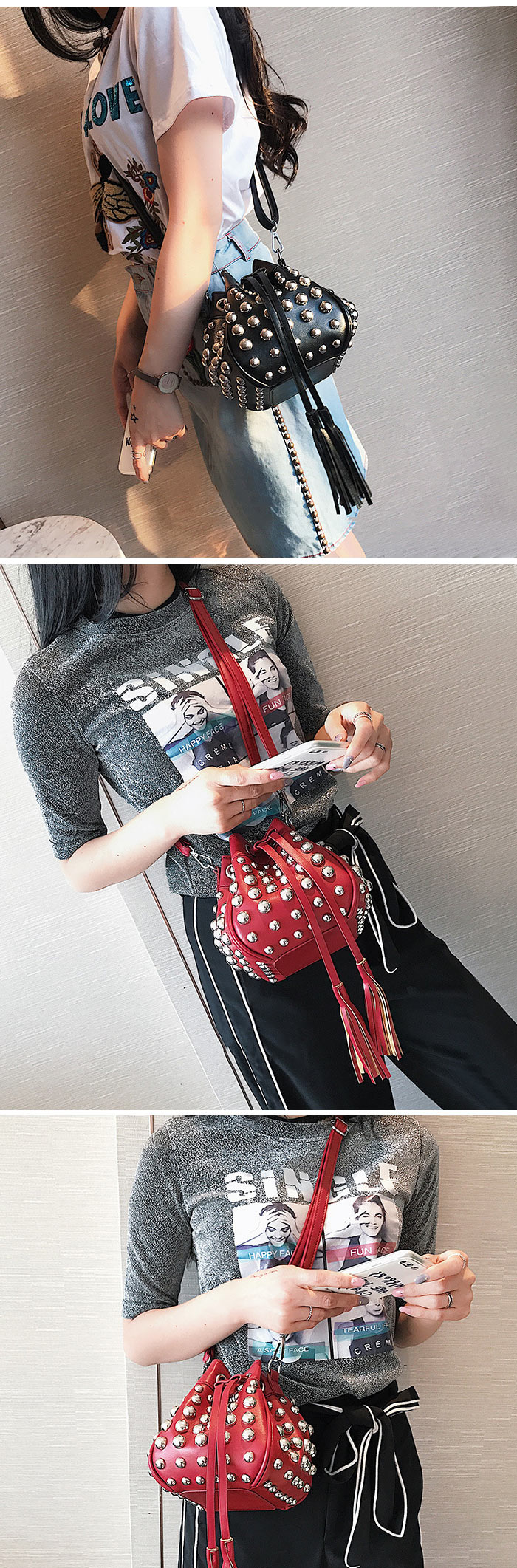 Tassels Bucket Crossbody Rivets Bag
