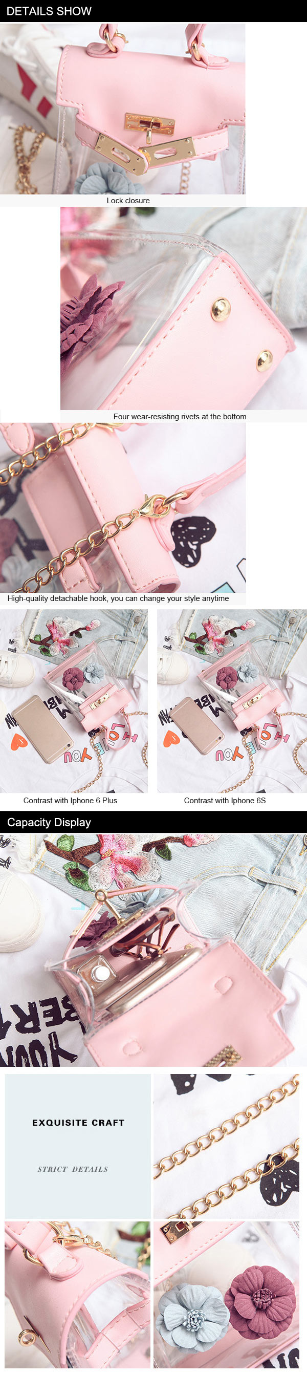 Flower Transparent Crossbody Tote Handbag