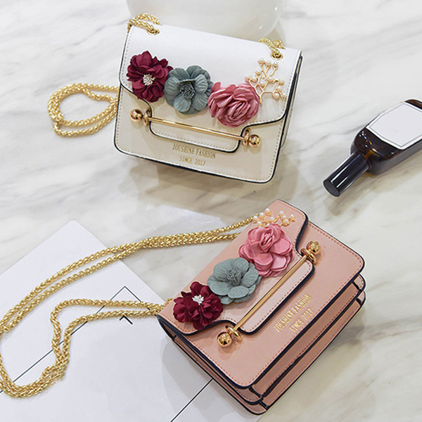 Flowers Chain Cross Body Bag