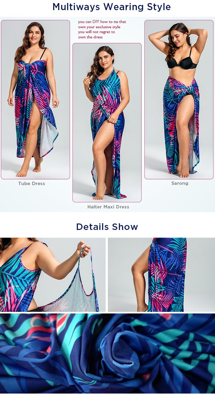 ba4082c0267 Tropical Leaf Print Plus Size Cover Up Maxi Dress in 5xl ...