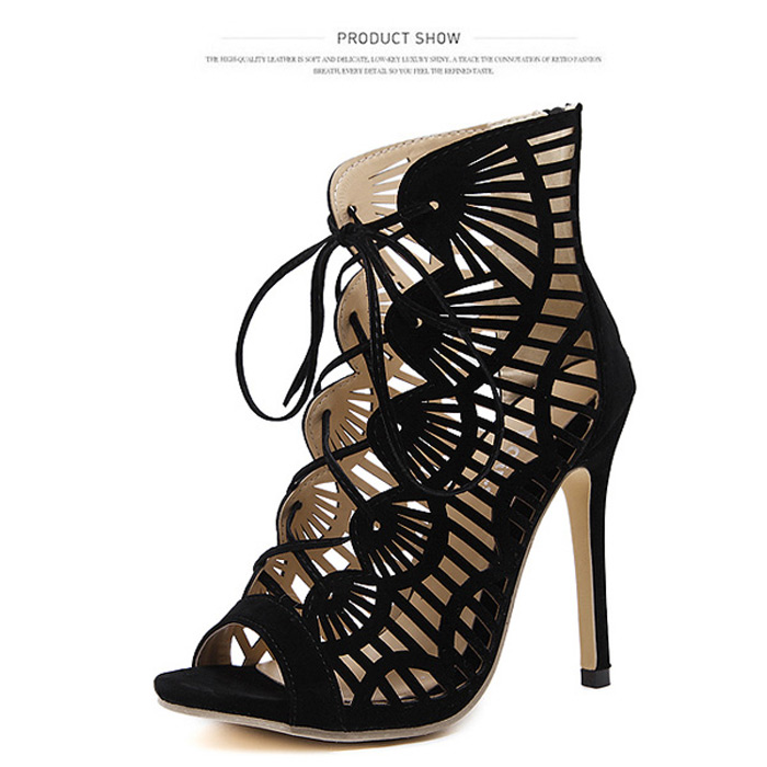Peep Toe Cutout High Heel Sandals