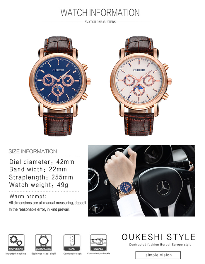 OUKESHI Number Faux Leather Strap Quartz Watch