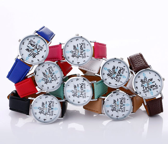 Faux Leather Strap Follow Your Dreams Pattern Watch