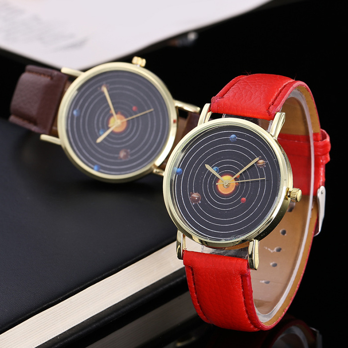 Faux Leather Strap Solar System Face Watch