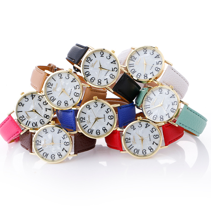 Faux Leather Strap Marble Face Watch
