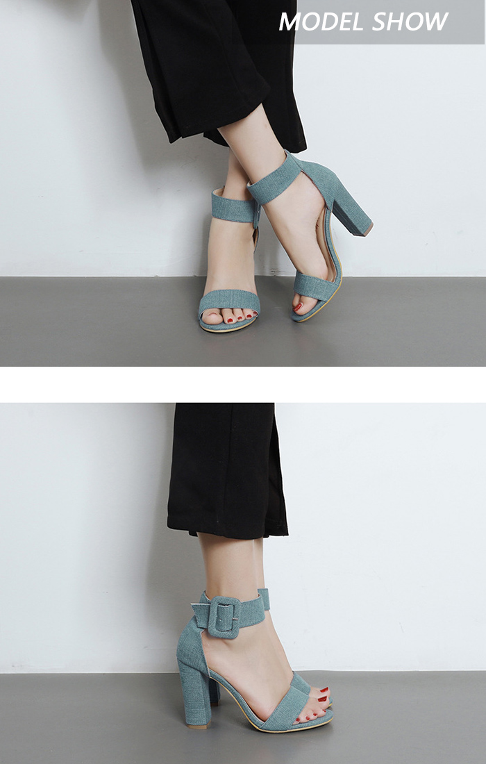Denim Ankle Strap Block Heel Sandals