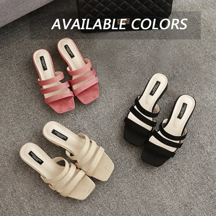 Open Toe Suede Strappy Slide Sandals