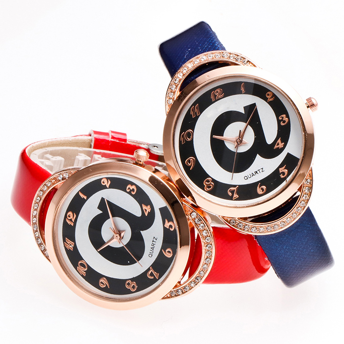 Symbol Faux Leather Strap Number Watch