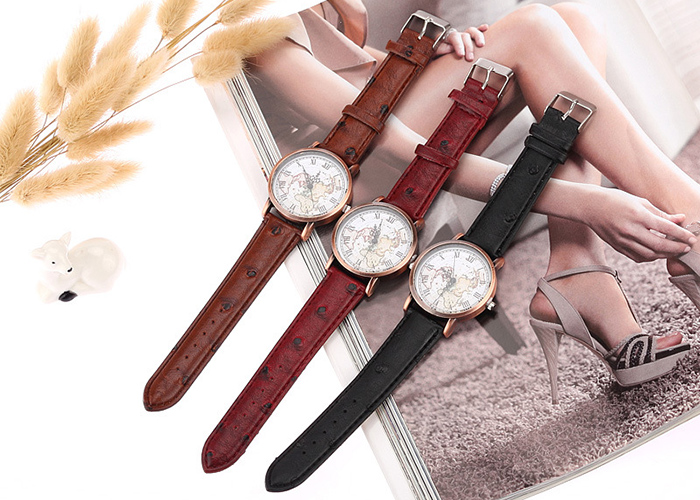 Faux Leather Strap World Map Watch