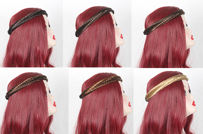 Fishbone Shape Colormix Braided Headband Extension de cheveux