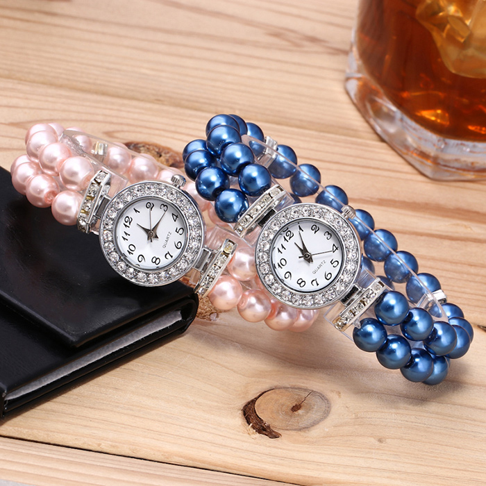 Faux Pearl Strap Number Bracelet Watch